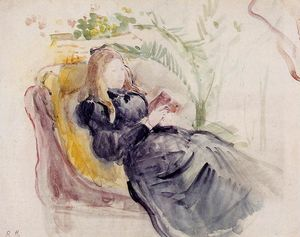 Berthe Morisot - Julie Manet, Reading in a Chaise Lounge