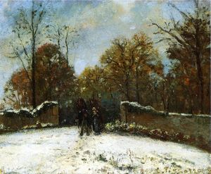 Camille Pissarro - Entering the Forest of Marly (Snow Effect)