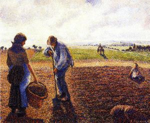 Camille Pissarro - Peasants in the Field, Eragny