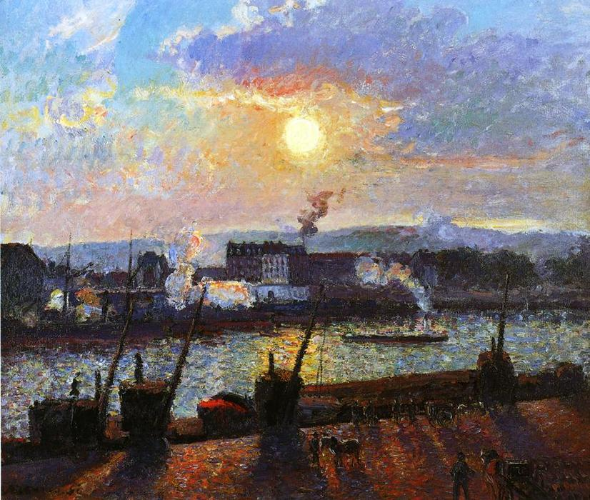 famous painting Sunset, Rouen of Camille Pissarro