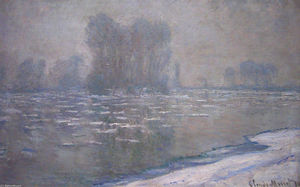 Claude Monet - Ice Floes, Misty Morning