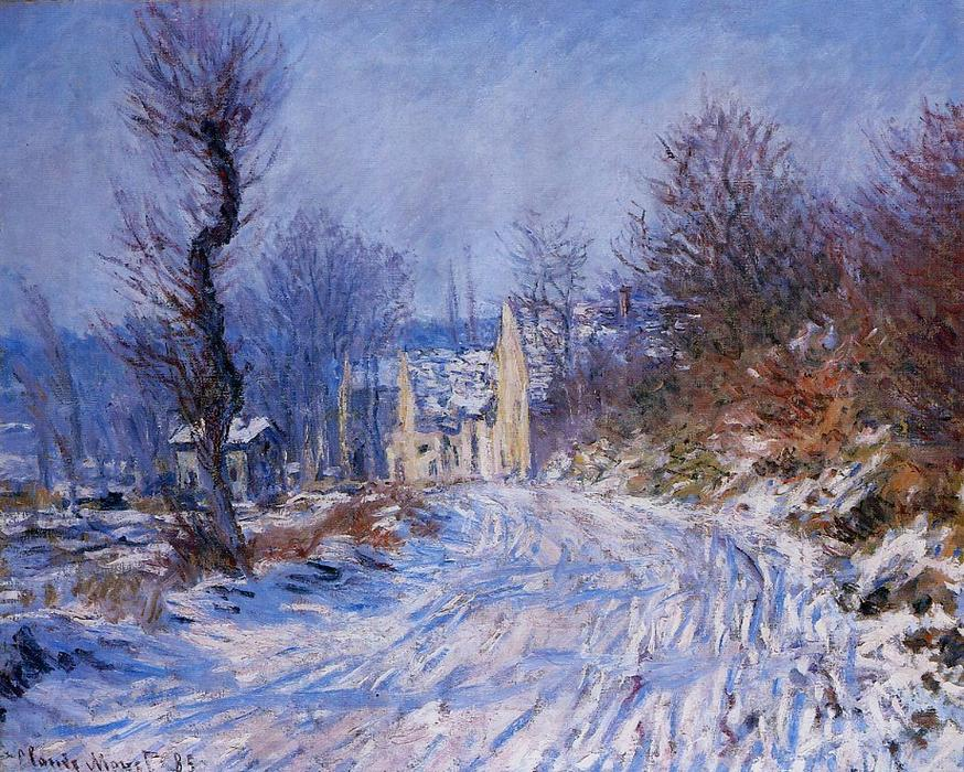 famous painting Road to Giverny in Winter of Claude Monet