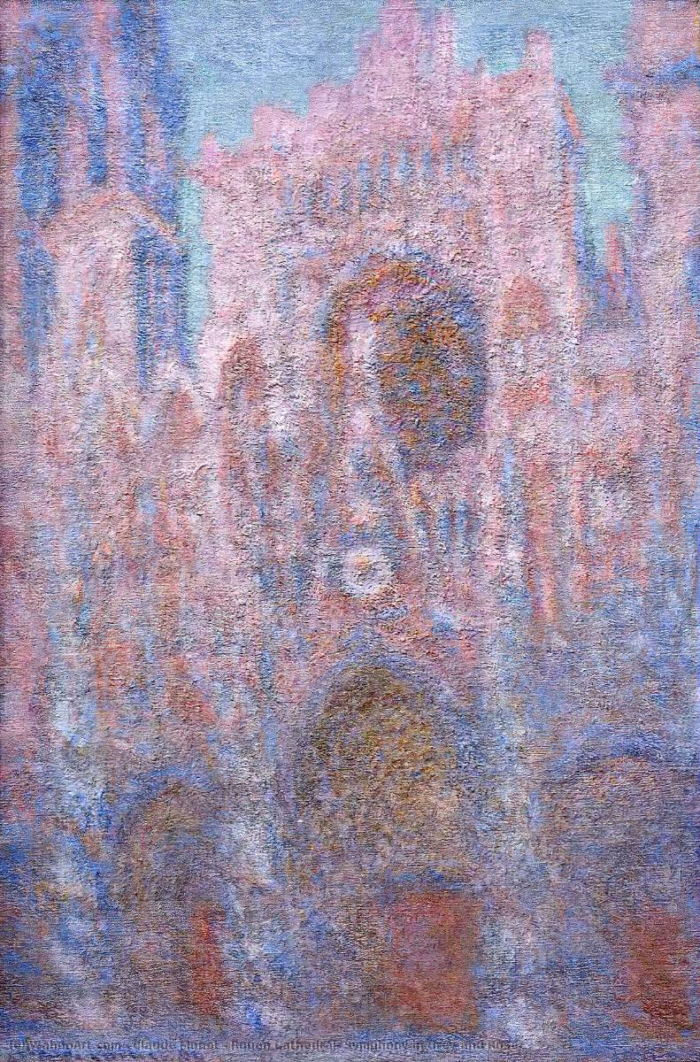 famous painting Rouen Cathedral, Symphony in Grey and Rose of Claude Monet