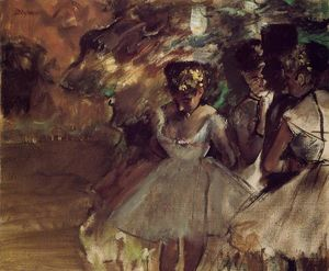 Edgar Degas - Three Dancers behind the Scenes