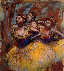 Edgar Degas - Three Dancers. Yellow Skirts, Blue Blouses
