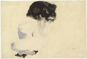 Egon Schiele - Nude with Violet Stockings and Black Hair