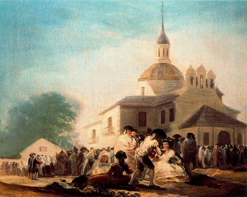 famous painting The hemitage of St. Isodor on the day of a fiesta of Francisco De Goya