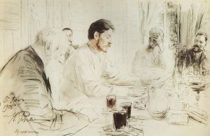 Ilya Yefimovich Repin - Maxim Gorky reading in The Penates his drama Children of the Sun