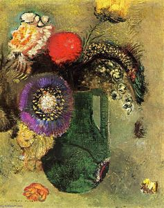 Odilon Redon - Flowers in Green Vase with Handles