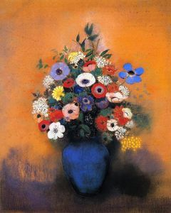Odilon Redon - Minosas, Anemonies and Leaves in a Blue Vase