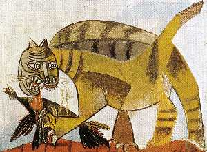 Pablo Picasso - Cat eating a bird