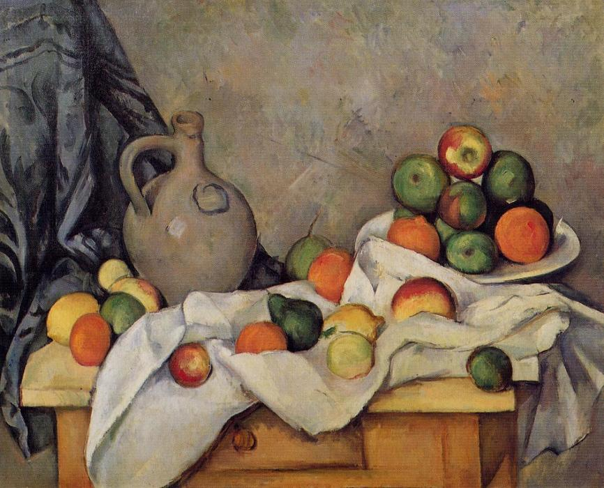 famous painting Curtain, Jug and Fruit of Paul Cezanne