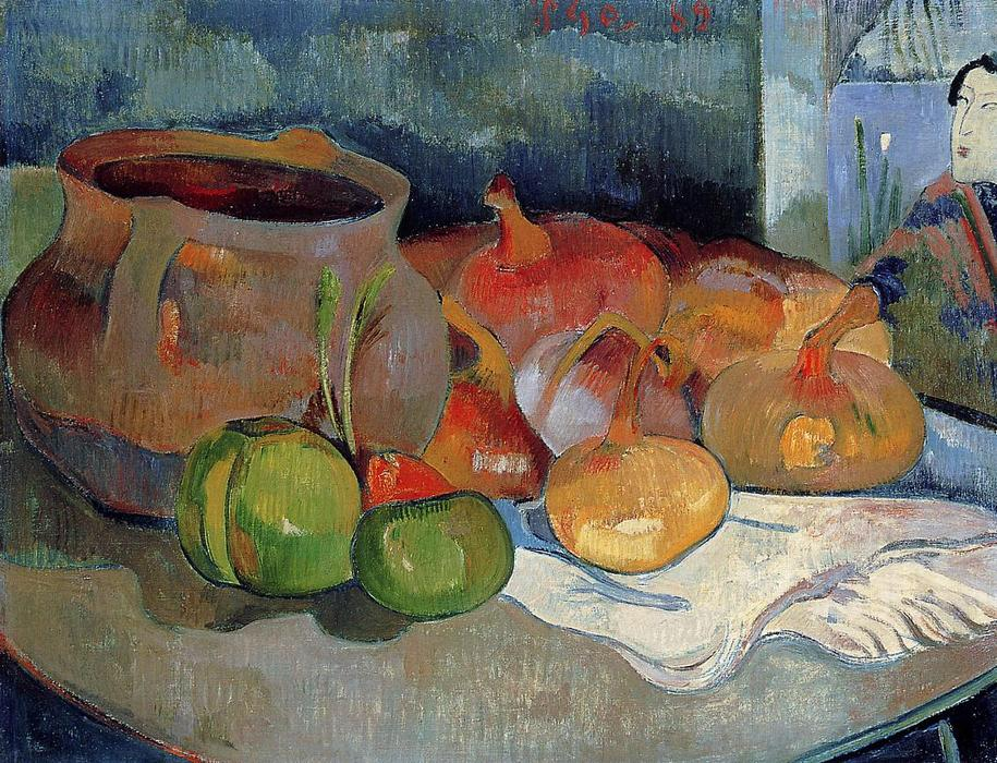 famous painting Still Life with Onions, Beetroot and a Japanese Print of Paul Gauguin