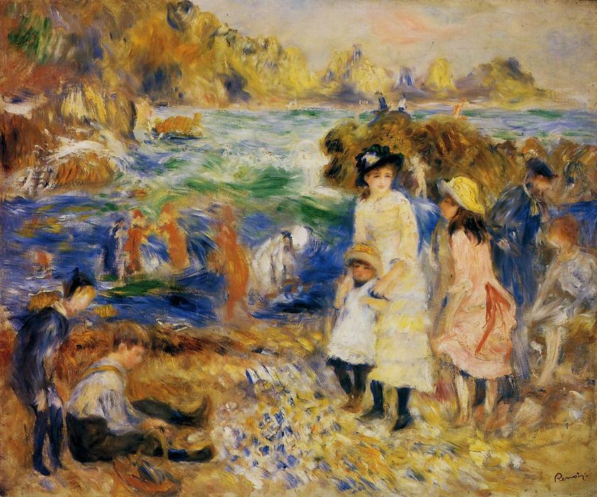 famous painting Children by the Sea in Guernsey of Pierre-Auguste Renoir