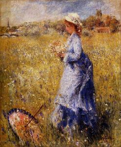 Pierre-Auguste Renoir - Girl Gathering Flowers