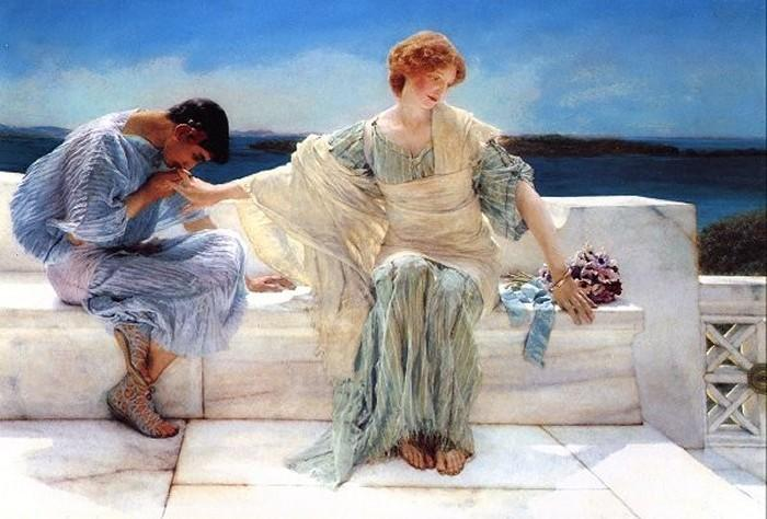famous painting Ask Me No More of Lawrence Alma-Tadema