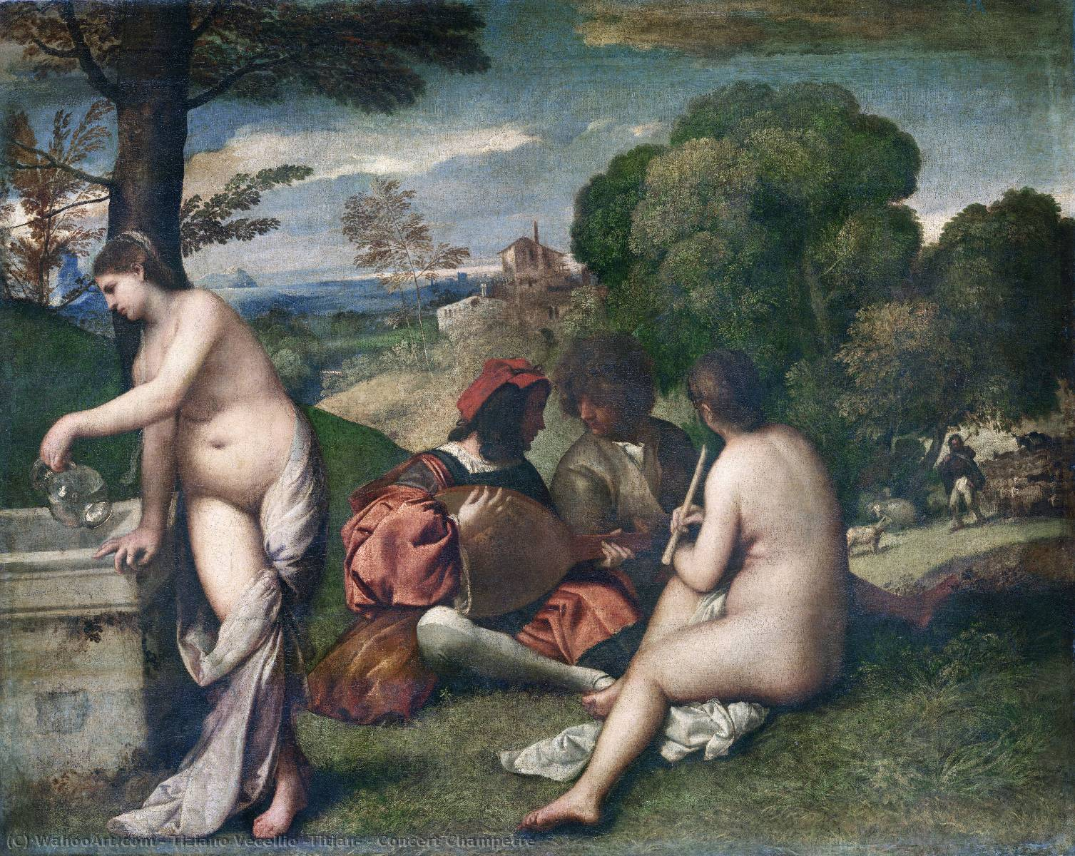famous painting Concert Champetre of Tiziano Vecellio (Titian)