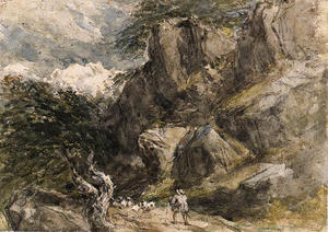 David Cox - A Drover And Sheep In A Rocky Landscape