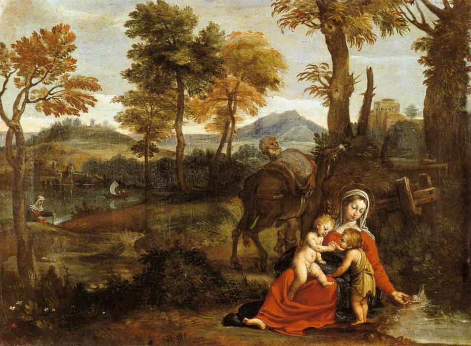 famous painting The Rest on the Flight into Egypt of Domenichino (Domenico Zampieri)