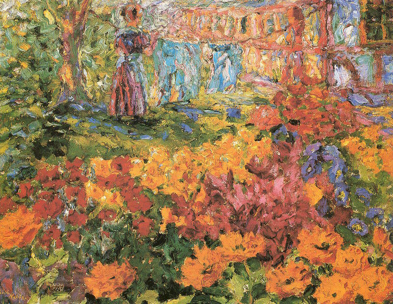 famous painting Flower Garden (Girl and Washing) of Emile Nolde