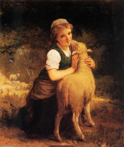 Emile Munier - Young Girl with Lamb