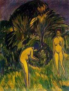 Ernst Ludwig Kirchner - Two naked women under the trees