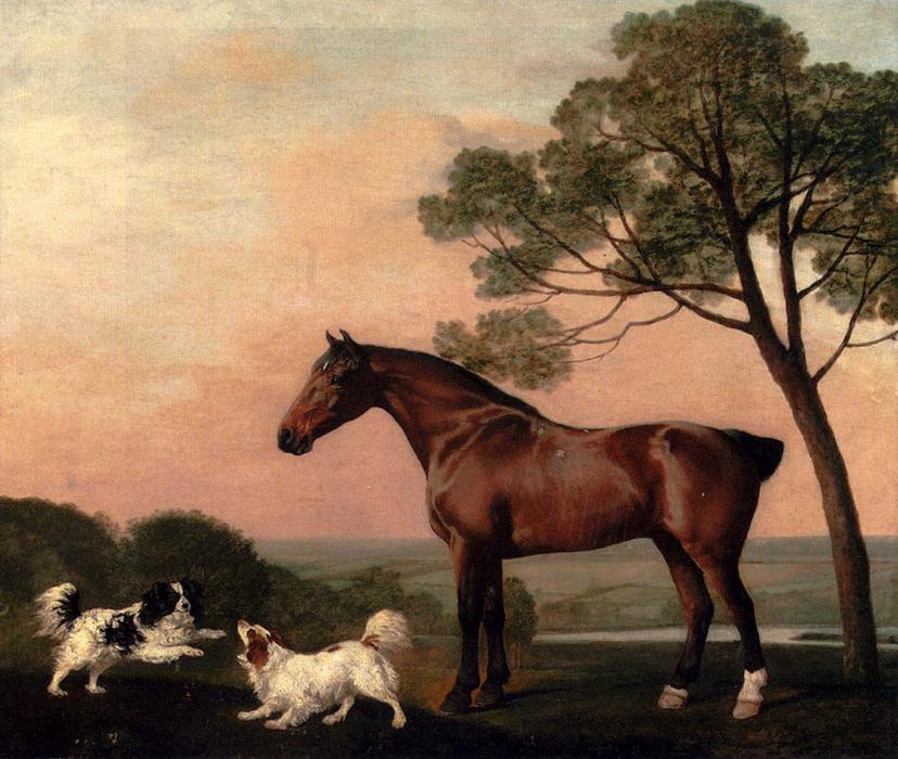 famous painting A Bay Hunter With Two Spaniels of George Stubbs