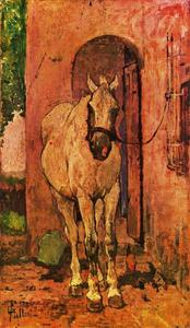 Giovanni Fattori - White horse in fron of a door