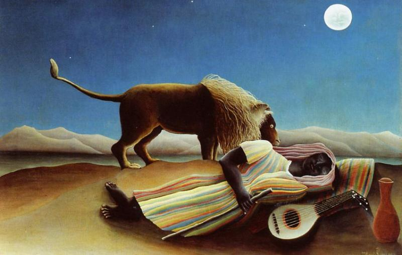 Buy Museum Art Reproductions | Sleeping Gypsy by Henri Julien Félix Rousseau (Le Douanier) | AllPaintingsStore.com
