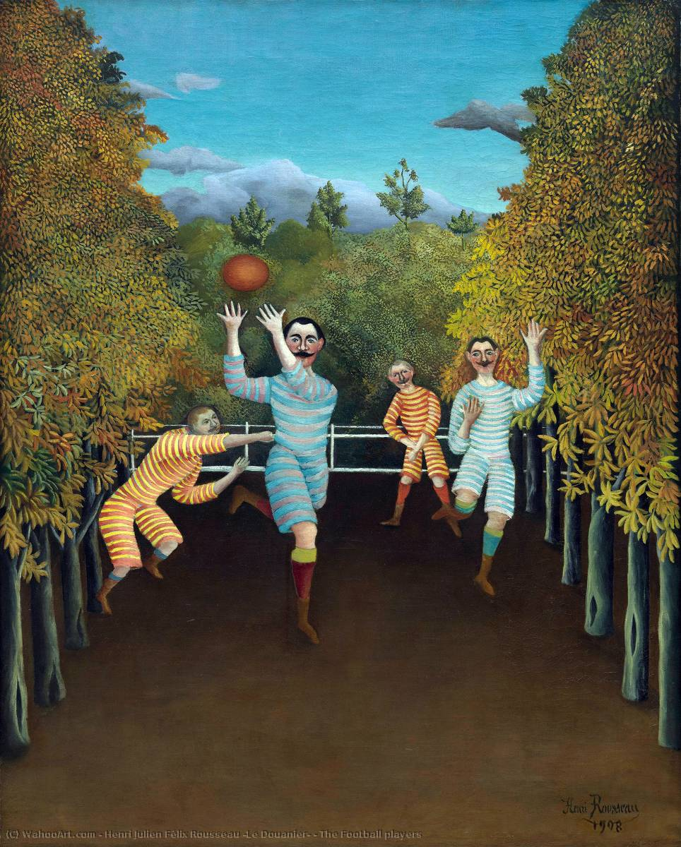 famous painting The Football players of Henri Julien Félix Rousseau (Le Douanier)