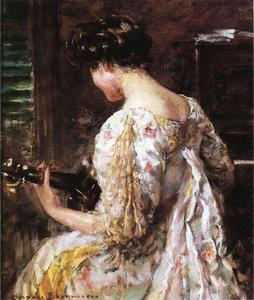 James Carroll Beckwith - Woman with Guitar