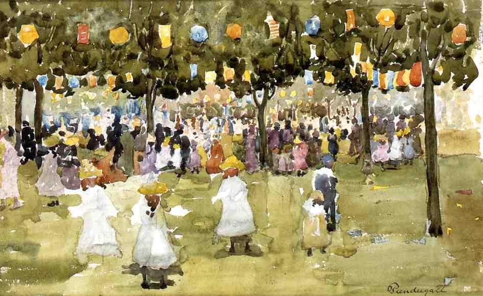 famous painting Central Park, New York City, July 4th of Maurice Brazil Prendergast