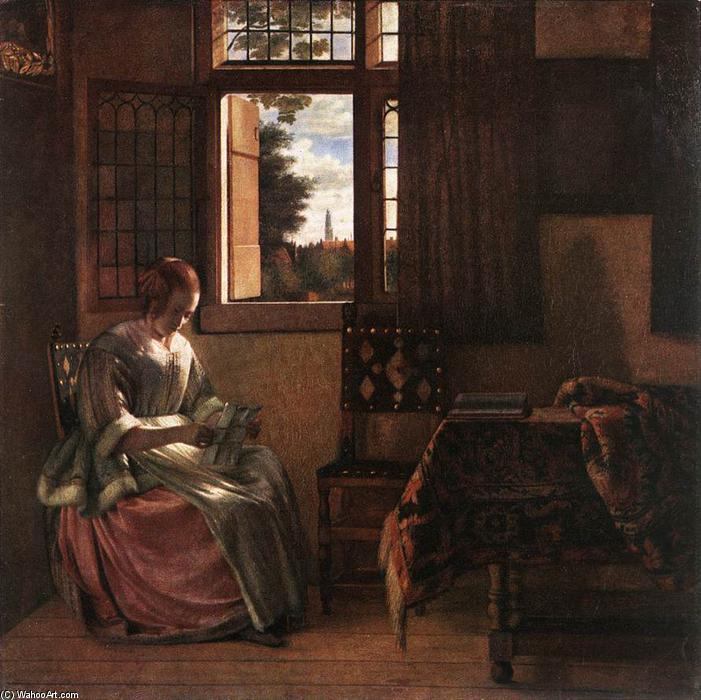 famous painting Woman Reading a Letter of Pieter De Hooch