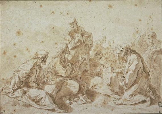 Buy Museum Art Reproductions | Jesus instructing the apostles by Sebastiano Ricci | AllPaintingsStore.com