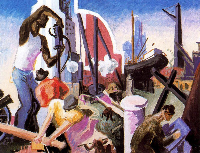 famous painting City Building (Study for America Today) of Thomas Hart Benton