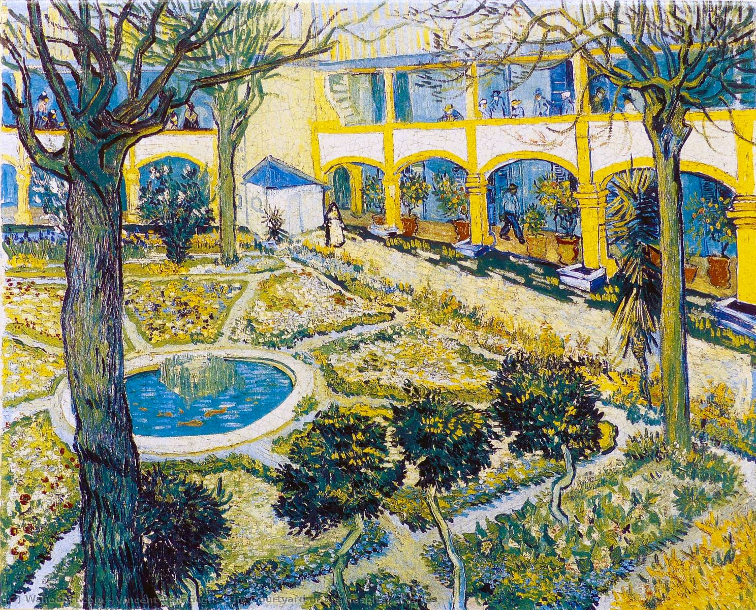 famous painting The Courtyard of the Hospital at Arles of Vincent Van Gogh