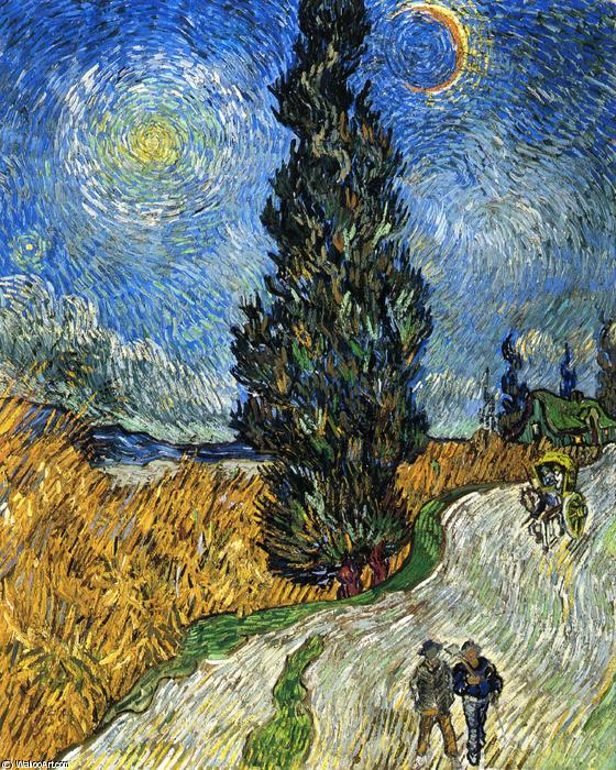 famous painting Cypress against a Starry Sky (also known as Road with Cypresses) of Vincent Van Gogh