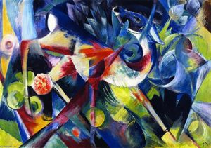 Franz Marc - Deer in a Flower Garden (also known as Deer in a Garden)