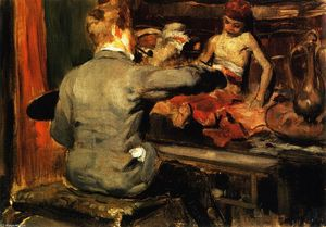 William Merritt Chase - Duveneck Painting the Turkish Page