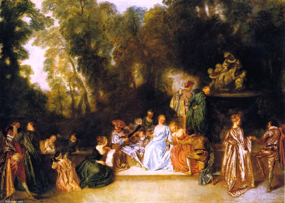 famous painting Entertainment in the Open Air of Jean Antoine Watteau