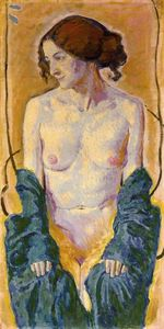 Koloman Moser - Female Nude with Blue Shawl