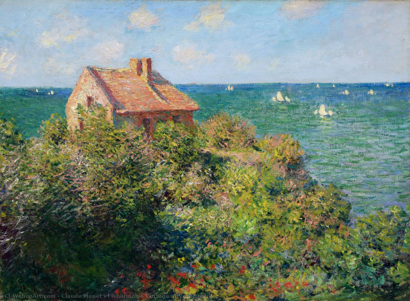 famous painting Fisherman's Cottage at Varengeville of Claude Monet