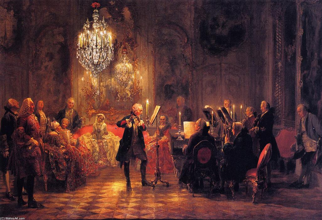 Order Art Reproductions | The Flute Concert of Frederick the Great at Sanssouci by Adolph Menzel | AllPaintingsStore.com