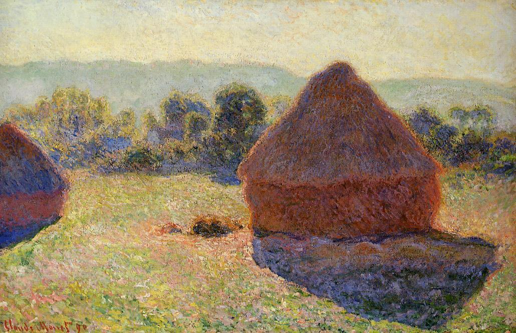 famous painting Grainstacks in the Sunlight, Midday of Claude Monet