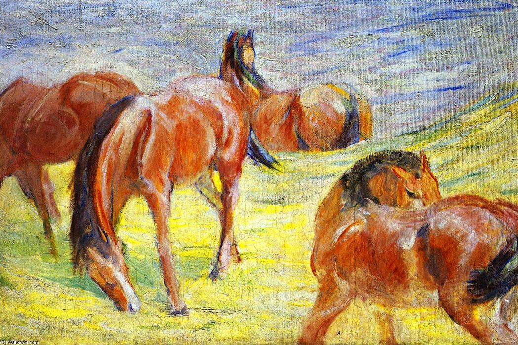 famous painting Grazing Horses of Franz Marc