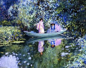 Frederick Carl Frieseke - Grey Day on the River (also known as Two Ladies in a Boat)