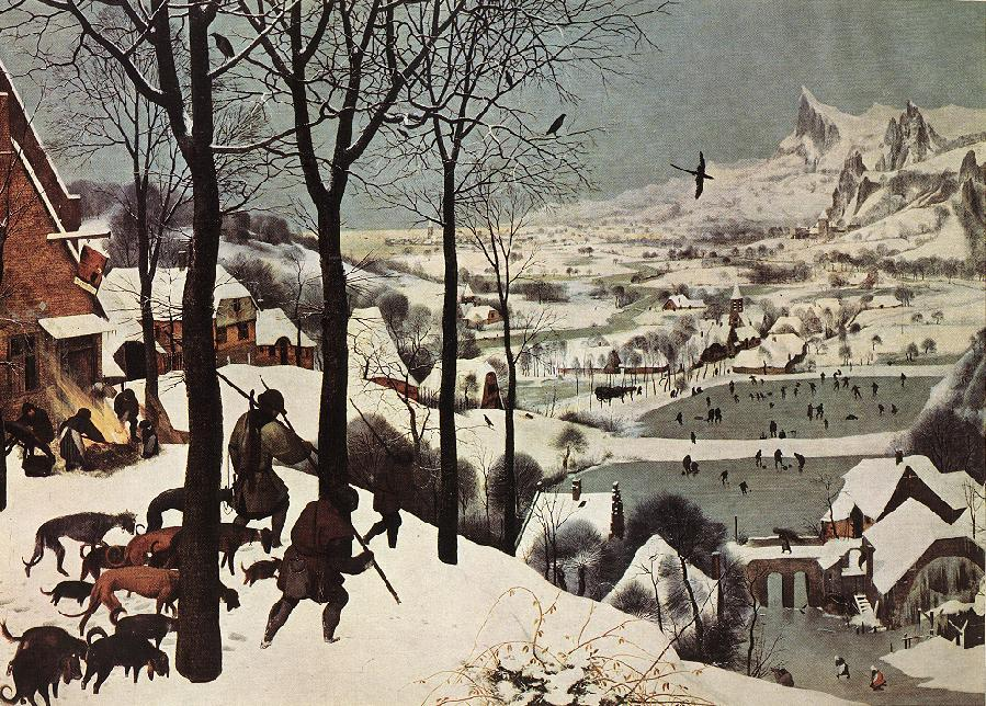 famous painting The Hunters in the Snow (Winter) of Pieter Bruegel The Elder