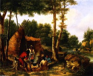 Cornelius David Krieghoff - Indian Encampment by a River