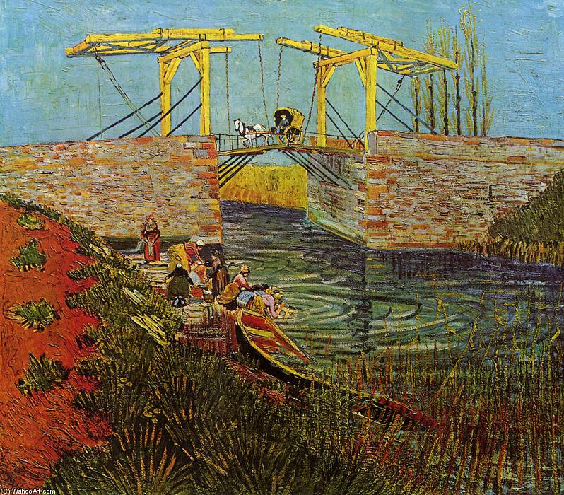 famous painting The Langlois Bridge at Arles of Vincent Van Gogh