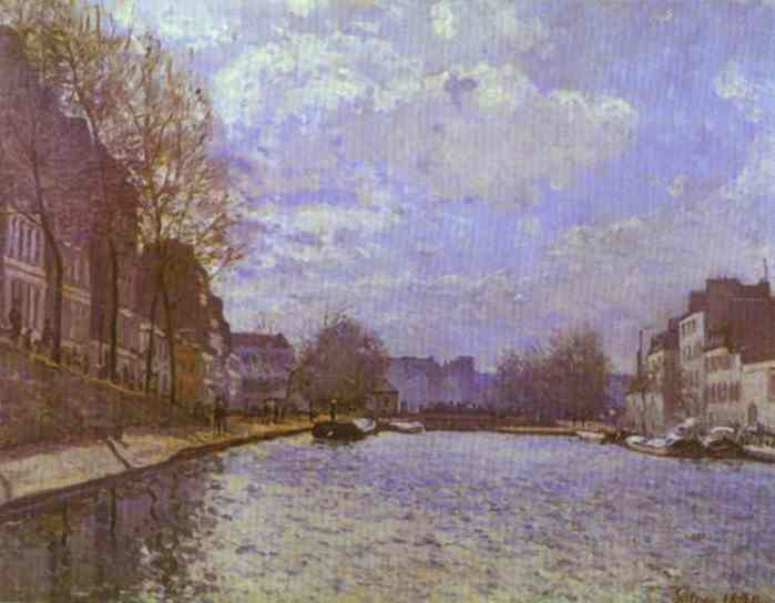 famous painting The Saint Martin Canal in Paris of Alfred Sisley